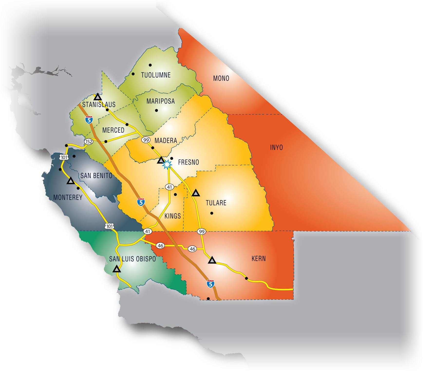 Map of Central California SBDC service centers